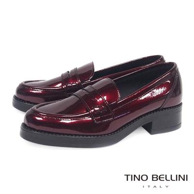 Tino Bellini 義大利進口好質感金屬皮低跟樂福鞋 _ 紅