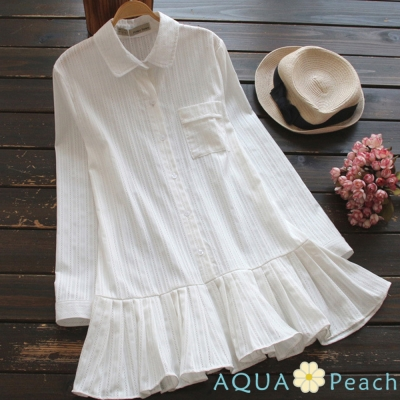 刺繡直條荷葉邊襯衫洋裝-白色-AQUA-Peach