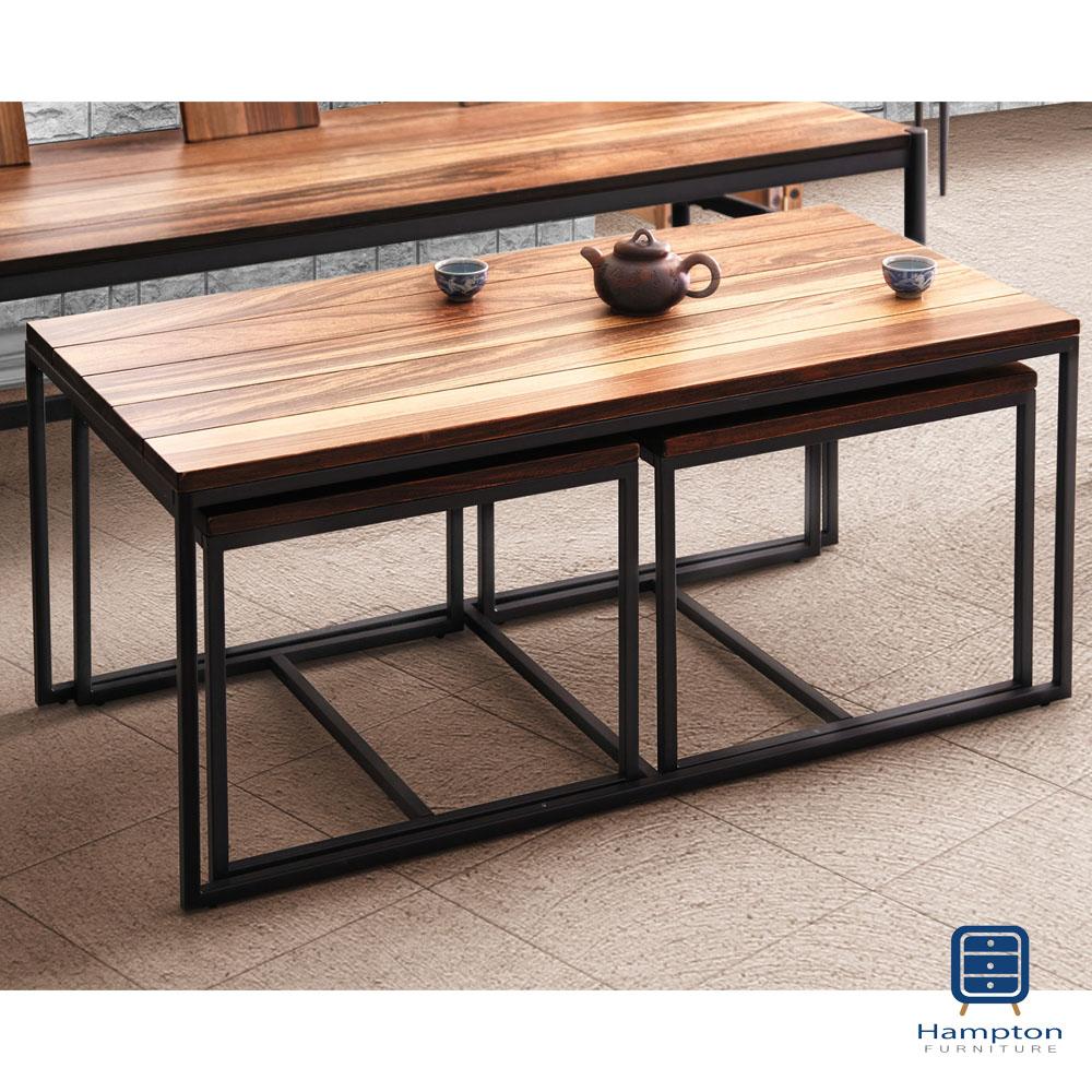 漢妮Hampton派爾斯系列工業風茶几(1桌2椅)-100x50x43cm