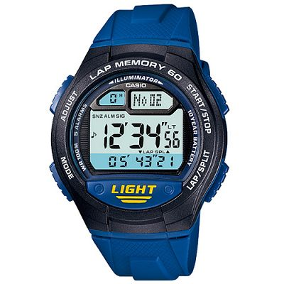 CASIO 世紀戰魂電子推動錶(W-734-2A)-藍/42.4mm