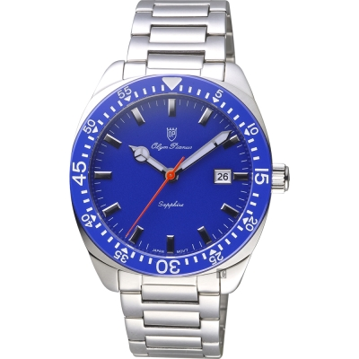 Olympianus 奧柏 復刻時尚手錶-藍x銀/40mm