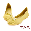 TAS 反摺抓皺扣飾牛皮娃娃鞋-亮麗黃