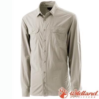 Wildland 荒野 W1202-83白卡其 男 可調節抗UV襯衫