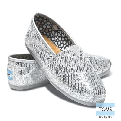 TOMS 經典亮片懶人鞋-女款(銀)