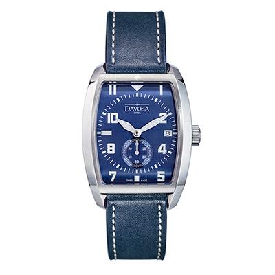DAVOSA Evo 1908 復刻獨立酒桶小秒針手錶-藍x/藍色皮帶/36mm