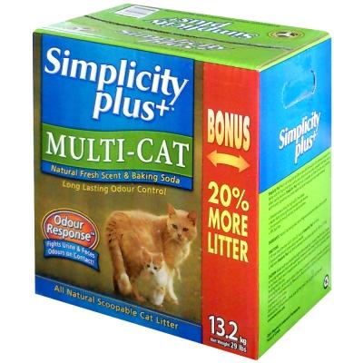 Simplicity Plus喜樂加強版凝結貓砂、13.2kg、多貓家庭專用