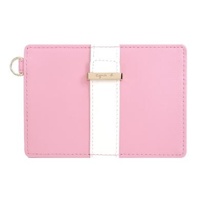 agnes-b-直紋飾帶証件票卡夾-粉紅
