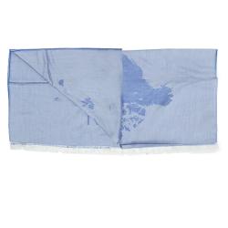 Alviero Martini 義大利地圖 水洗感地圖絲巾-牛仔藍(80X180)