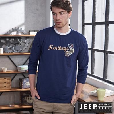 JEEP美式洗舊文字徽章長袖TEE-海軍藍