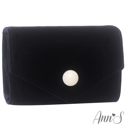 Ann'S時髦貴氣天鵝絨圓球信封包-黑