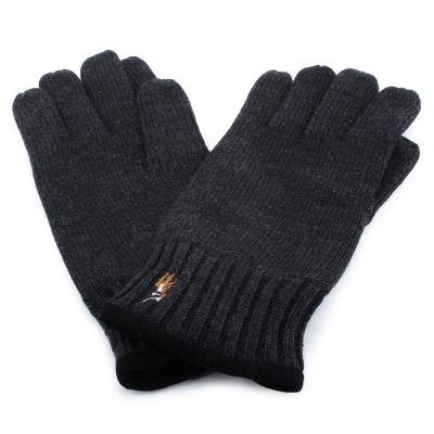 RALPH LAUREN POLO 麂皮飾邊小馬刺繡LOGO羊毛手套-灰黑色