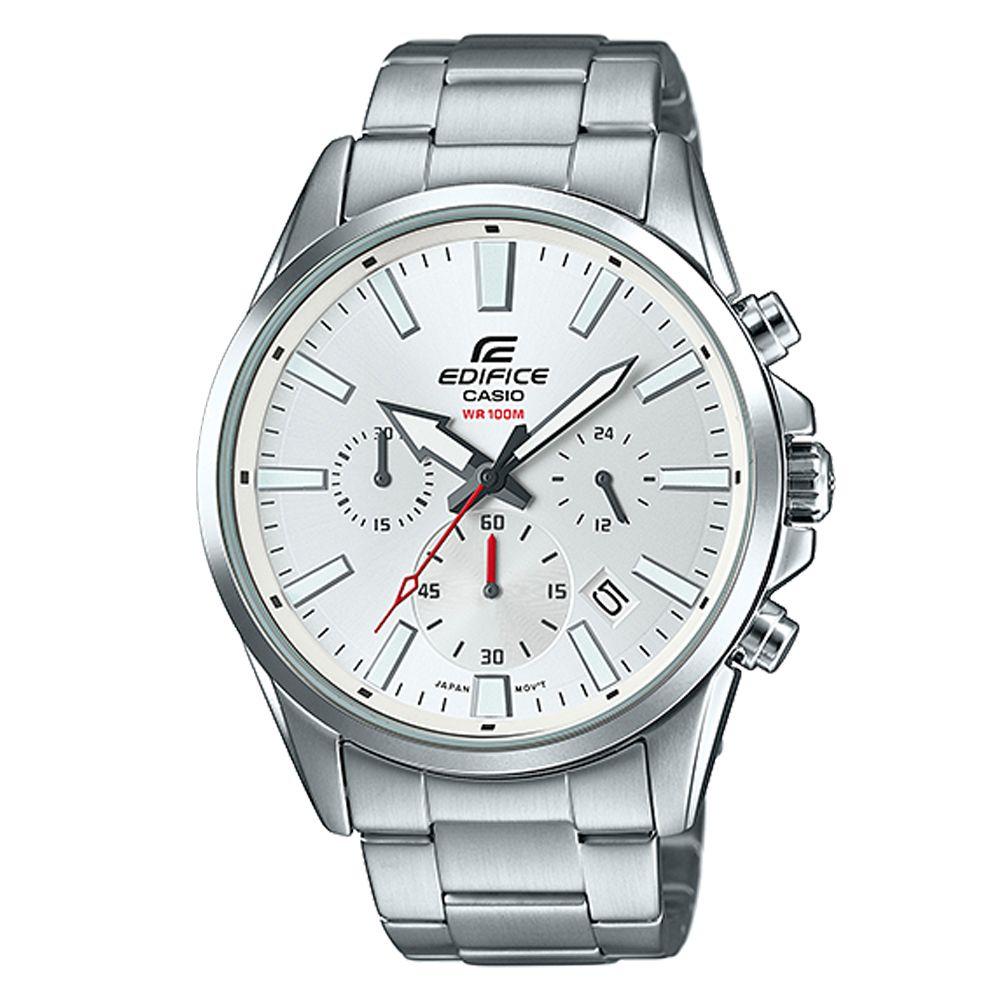 EDIFICE 經典三眼時刻大錶面時尚腕錶(EFV-510D-7A)白/45mm