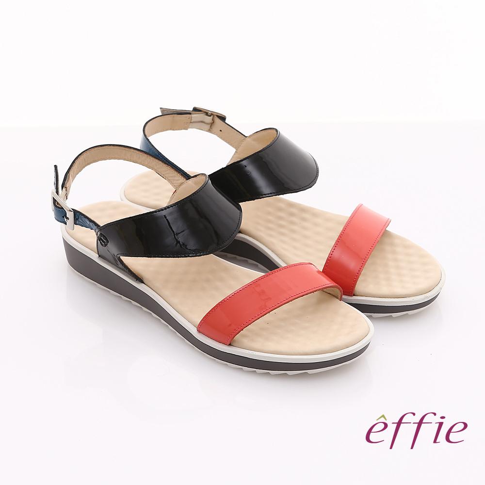 effie 繽紛馬卡龍 鏡面牛皮雙條帶涼鞋 黑