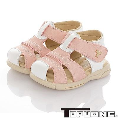 TOPUONE 傳統手工鞋高級超纖皮革防滑學步涼鞋童鞋-粉