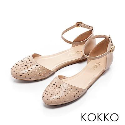 KOKKO - 戀夏物語繫帶鏤空雕花涼鞋-奶茶裸