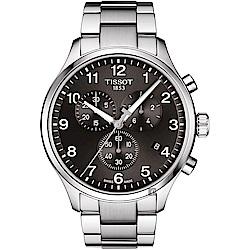 TISSOT天梭 韻馳系列 Chrono XL計時手錶-灰x銀/45mm
