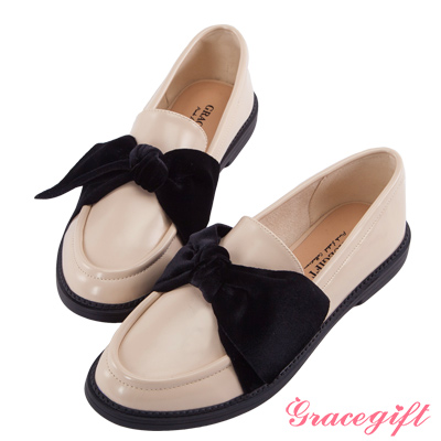Grace gift-異材質絨布蝴蝶結樂福鞋 杏