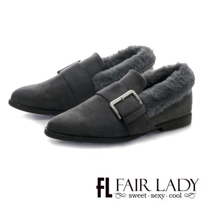 Fair Lady 滾毛領方釦麂皮粗跟鞋 灰