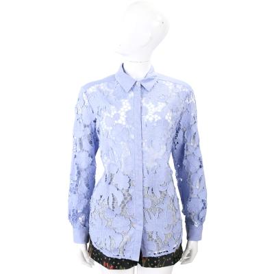 Max Mara-SPORTMAX 淺藍色棉料縷空織花蕾絲襯衫