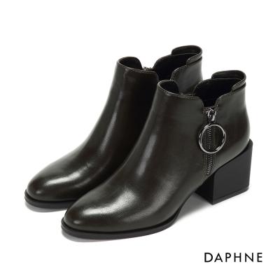 達芙妮DAPHNE 踝靴-霧面簡約拉鍊中粗跟踝靴-橄欖綠