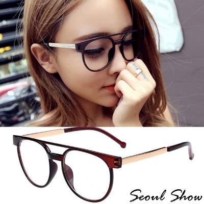 Seoul-Show-飛官造型平光眼鏡-3115茶色