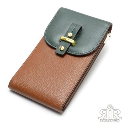 2R 拼色牛皮Culture鍊帶手機收納包 跳色綠駝