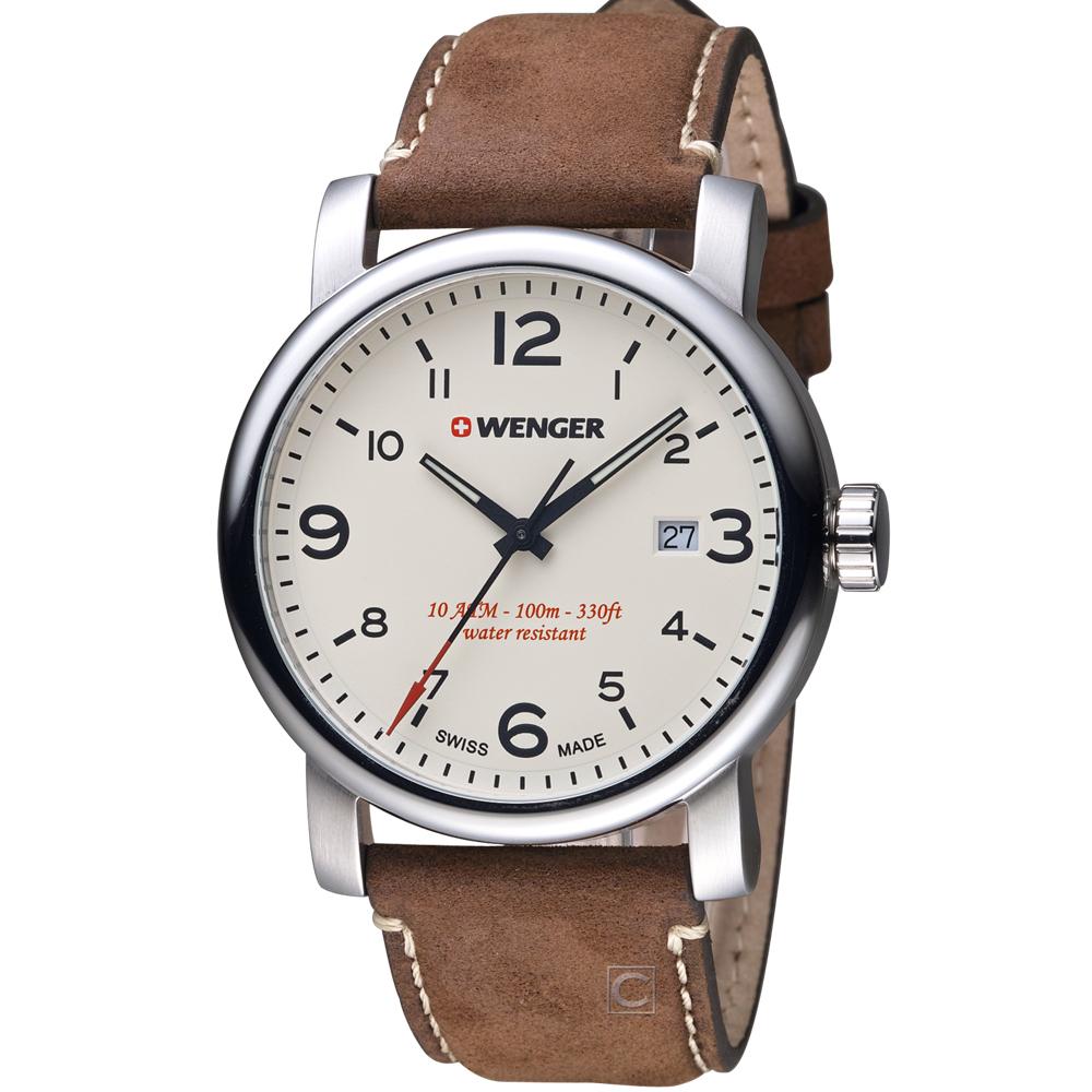 瑞士WENGER 都會系列戶外休閒腕錶 -咖啡色/45mm