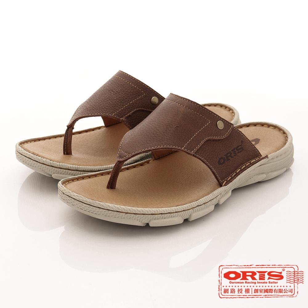 ORIS男款 真皮時尚流行腳夾拖鞋 棕-SA17392L03