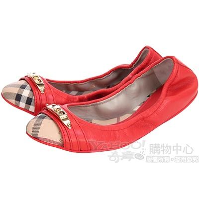 BURBERRY 橘紅色經典格紋拼接娃娃鞋