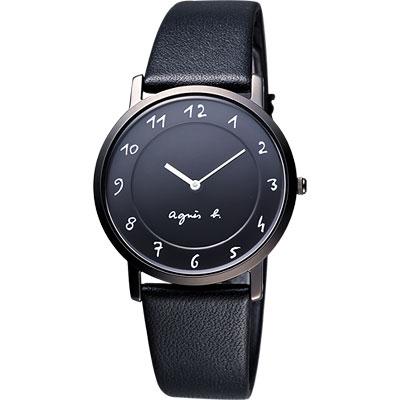 agnes b. 法國時尚簡約風情腕錶-黑/33mm