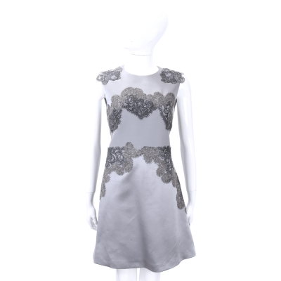 ALBERTA FERRETTI 灰色繡線蕾絲緞面無袖洋裝