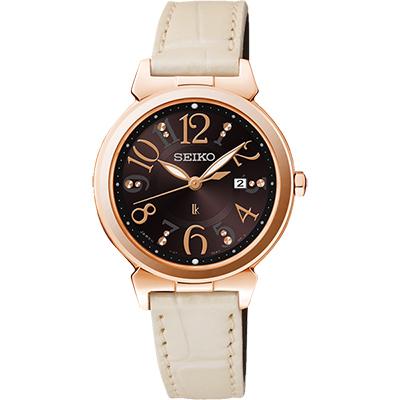 SEIKO LUKIA 太陽能甜美時尚腕錶(SUT188J1)-咖啡x米白/30mm