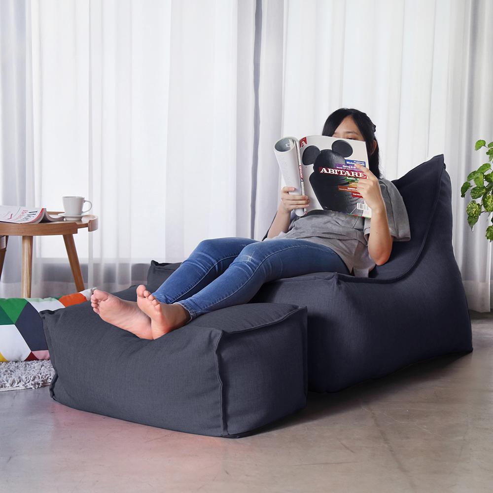 H&D JASON賈森約風舒適懶骨頭沙發(L型+凳)-多色選70*135*75cm