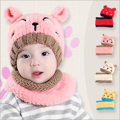 冬季小熊造型雙球毛線帽+圍脖兩件組-共四款