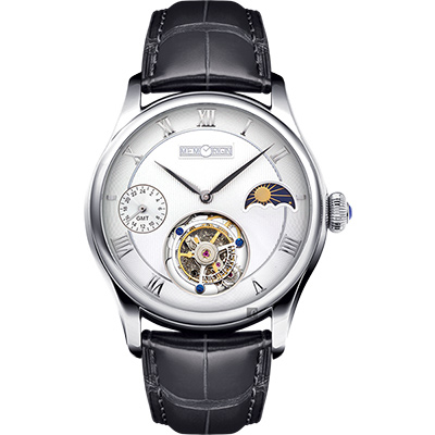 MEMORIGIN 萬希泉 旅程系列陀飛輪腕錶-銀x黑/ 43 mm