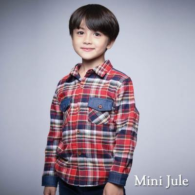 Mini Jule ~襯衫 搖粒絨格紋拼接 排釦長袖襯杉 紅
