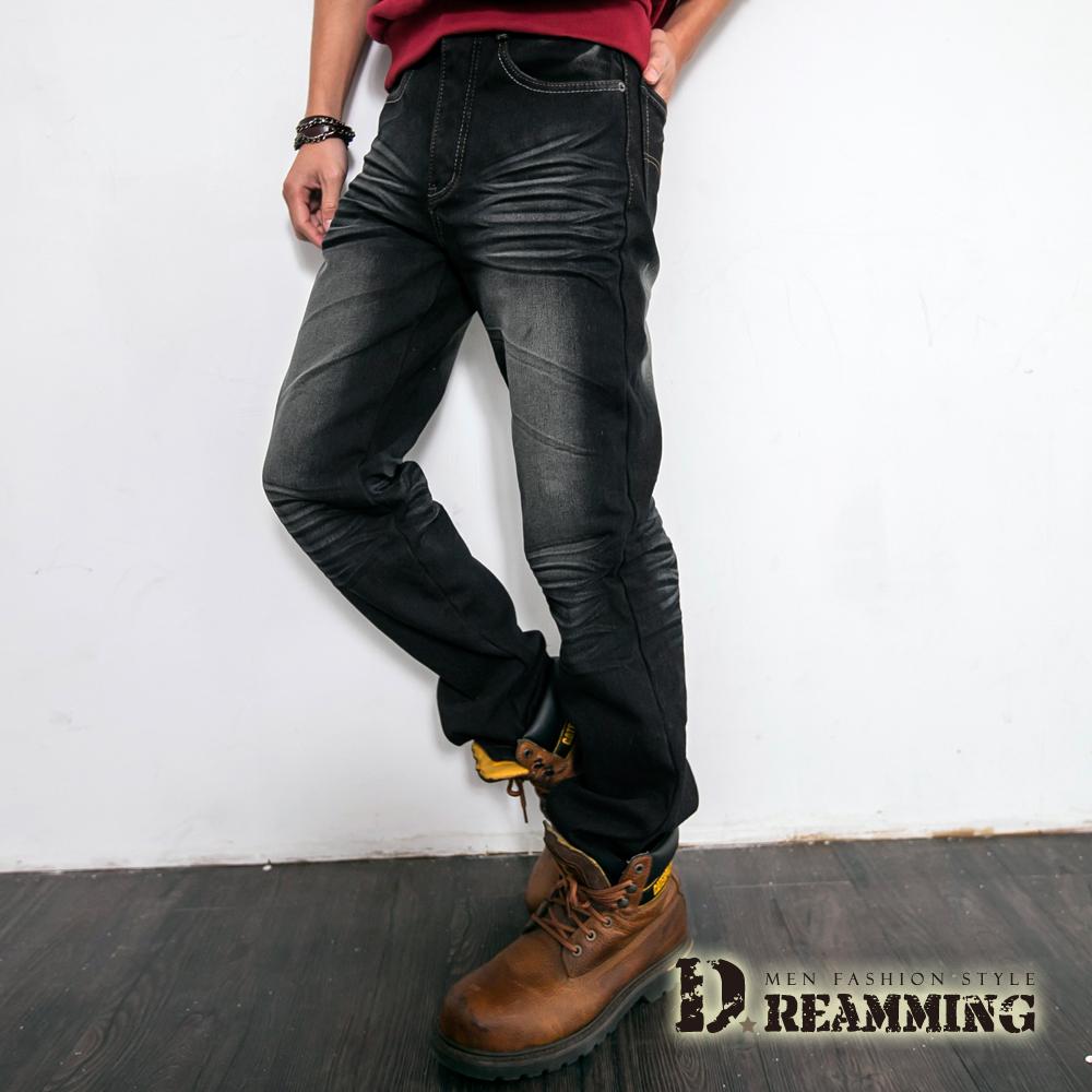 Dreamming 刷色內磨毛伸縮中直筒牛仔褲