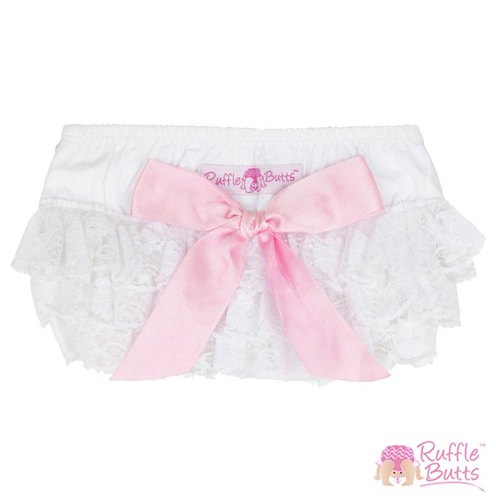 RuffleButts 小女童大蝴蝶結荷葉邊包屁褲-白色蕾絲粉紅款