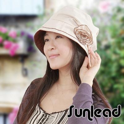 Sunlead 護髮美型款。小顏效果防曬防潑水圓頂抗UV遮陽軟帽 (淺褐色)