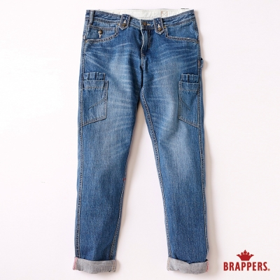 BRAPPERS 女款 Boy Friend Work系列-女用九分反摺工作褲-藍