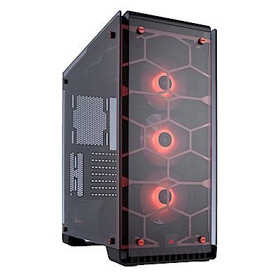 Corsair 海盜船【Crystal  570 X RGB】全透側 ATX電腦機殼《紅》