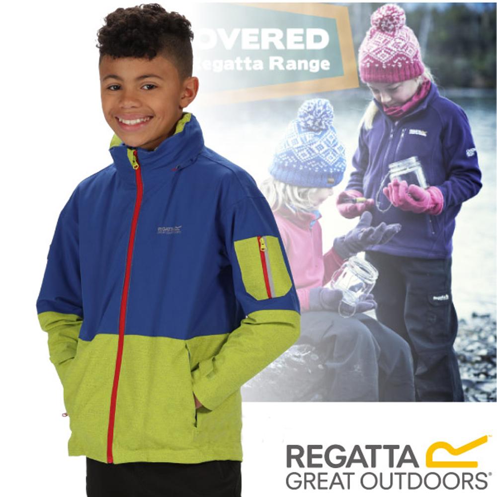 【REGATTA】兒童 超反光防水防風保暖二件式外套_藍/綠