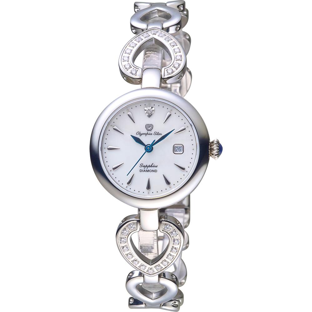 Olympianus 奧柏 恣心晶鑽鏤空手鍊女錶-珍珠貝x銀/28mm