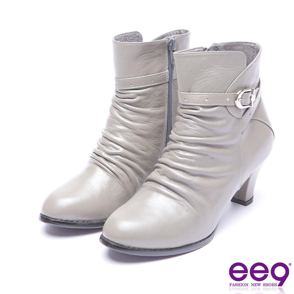 ee9 典雅簡約金屬扣環抓皺素面粗跟短筒靴-灰色