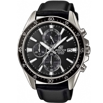 EDIFICE復古風尚真皮三眼計時腕錶(EFR-546L-1A)-黑/47mm