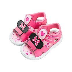 迪士尼童鞋 米妮 愛心嗶嗶涼鞋-桃