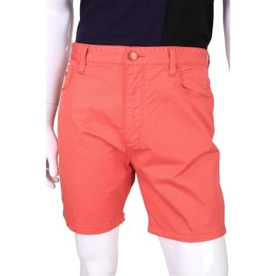 EMPORIO ARMANI 素面棉質短褲(橘紅色)