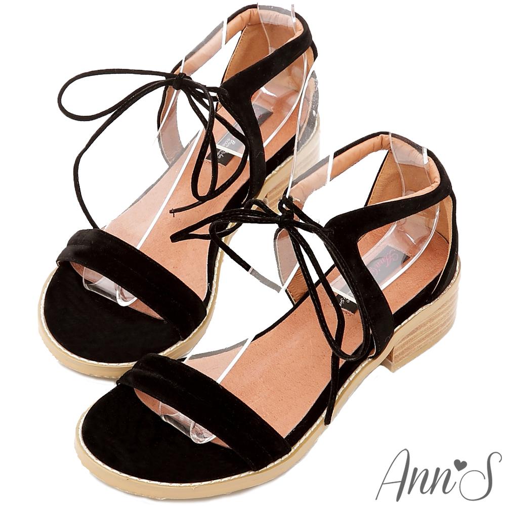Ann'S洗鍊氣息-綁帶寬版超柔軟舒適平底涼鞋-黑
