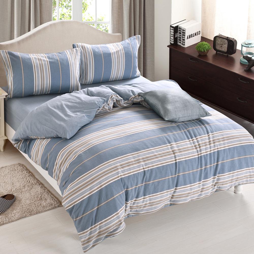 HOYACASA左岸風情 特大水洗棉四件式被套床包組