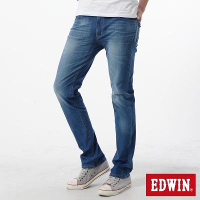 EDWIN 大尺碼窄直筒 迦績褲JERSEYS新紅布邊牛仔褲-男-石洗藍